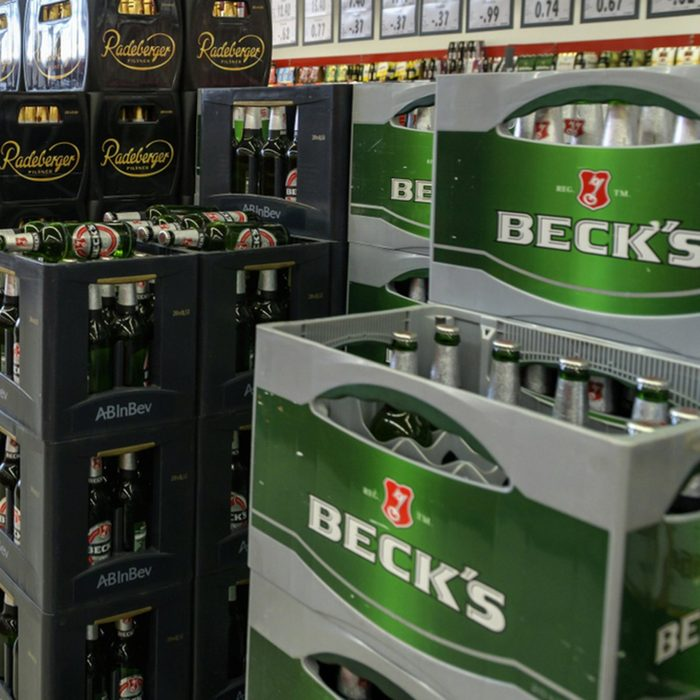 lcoholic beverages department in a supermarket, beers of various .producers
