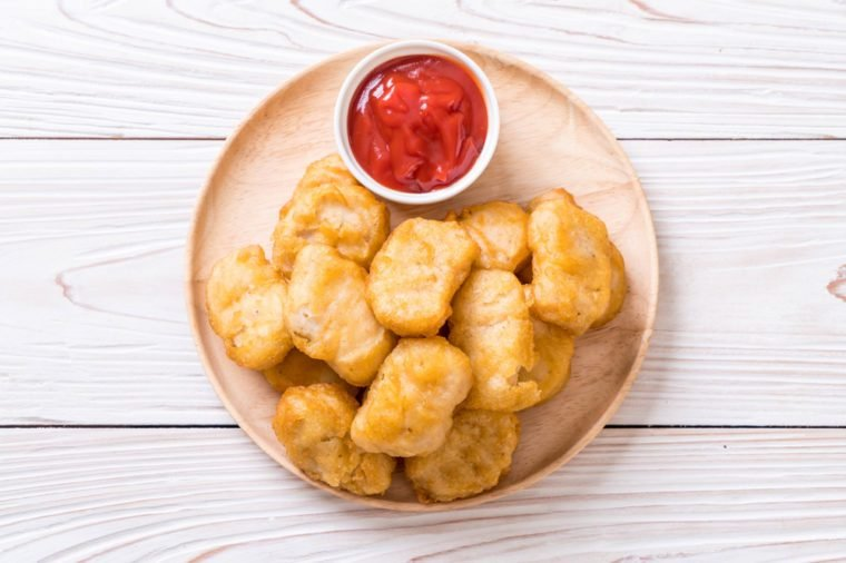 Chicken nuggets with sauce - unhealthy food