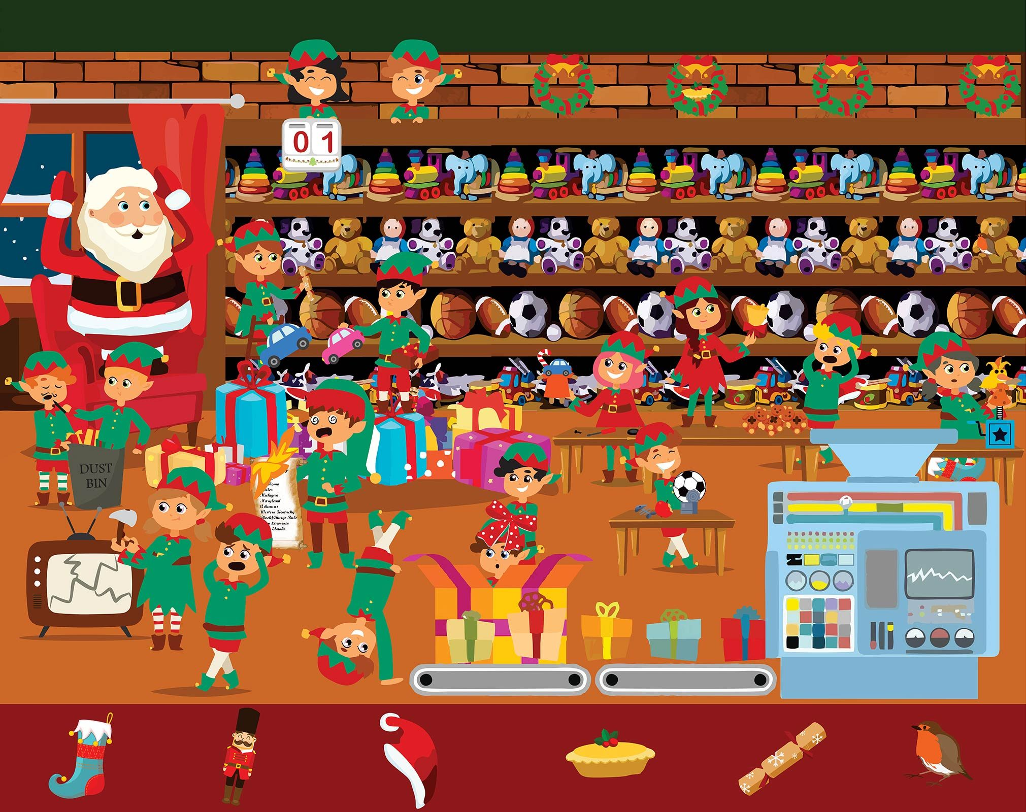 Christmas Attic.Can You Find The Items In This Christmas Brainteaser
