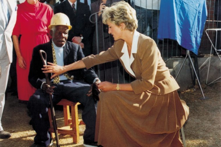 Diana Princess Of Wales At An Old People's Home In Zimbabwe. It Has Been Called The Suffering Tour And These Past Few Days Princess Diana Has Been Seen Comforting The Desperately Sick Hugging A Woman Dying From Aids Stretching Out Loving Arms To Tho