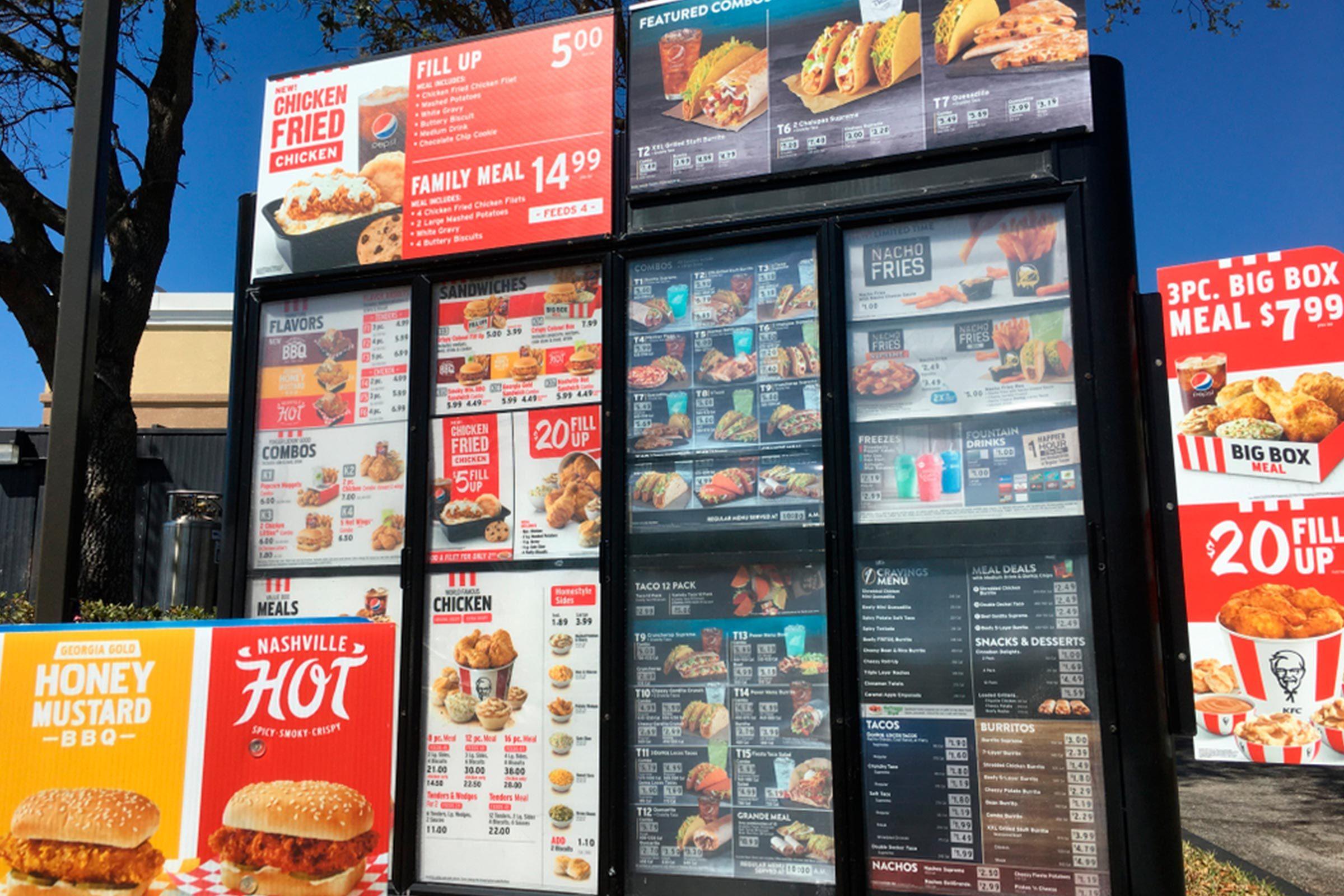 Taco bell and KFC drive thru menu