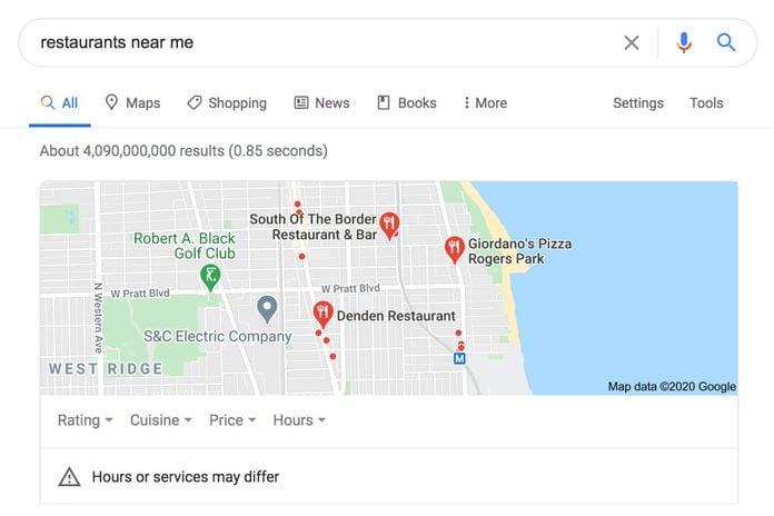 Google: Restaurants Near Me