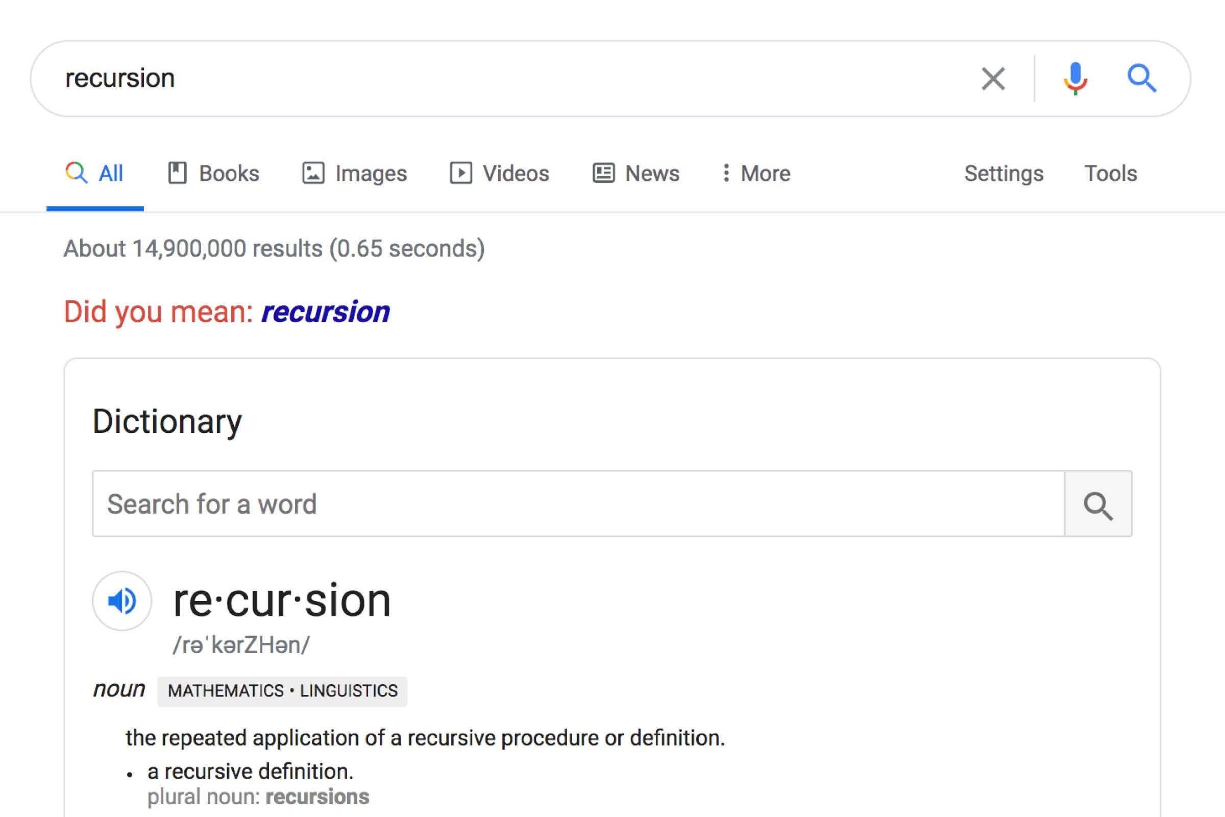 Google: Recursion