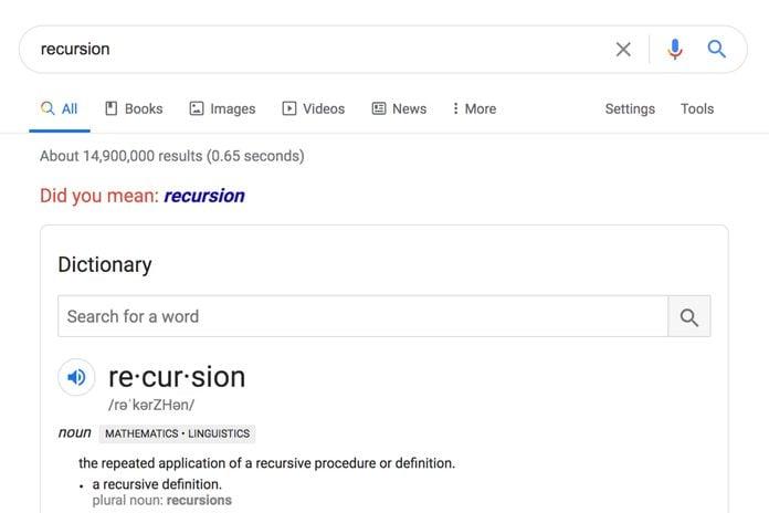 Google: Recursion
