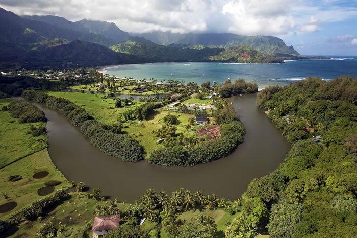 Drone Aerial Panorama - Hanalei River / Hanalei Bay - Island of Kaua'i, Hawaii