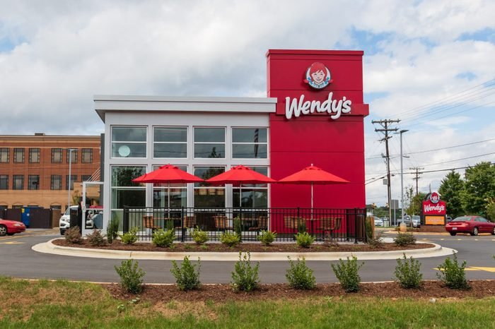 HICKORY, NC, USA-9/27/18: A newly constructed Wendy's fast food restaurant, with outside seating.
