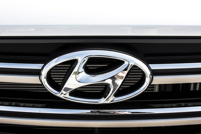 KIEV, UKRAINE - APRIL 28, 2017: Photo of the logo of Hyundai car. Hyundai is a famous worldwide car company.