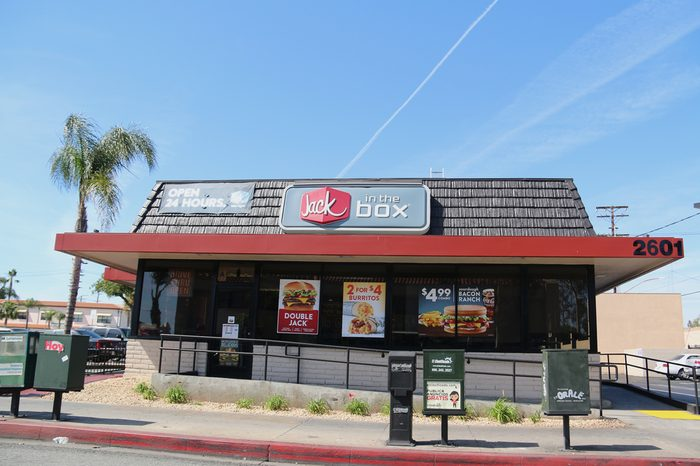 Los Angeles, CA, USA - April 20, 2016: Jack in the Box is an American fast food restaurant chain serving a variety of hamburger and cheese burger primarily in the West Coast of the United States.