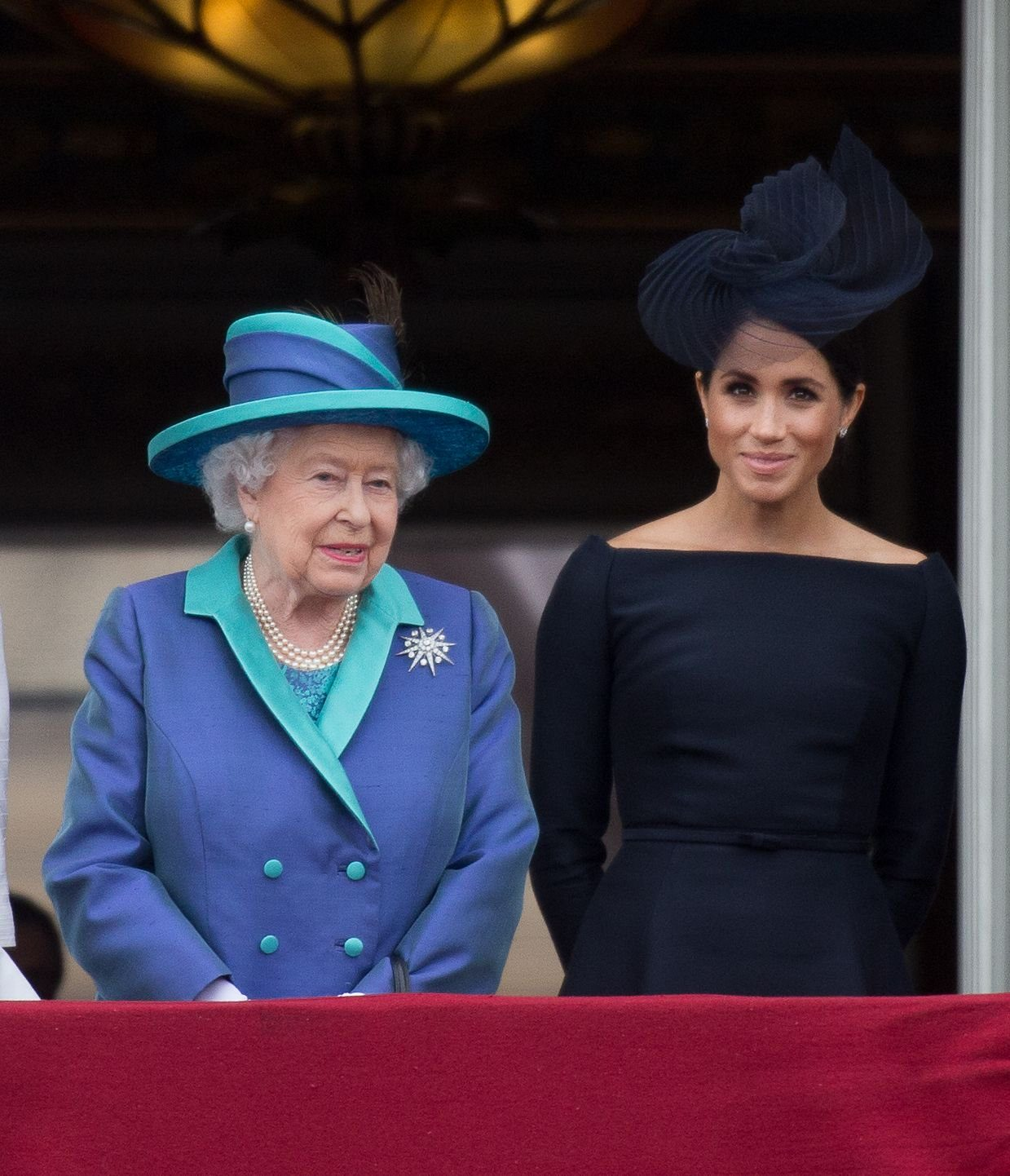 Queen Elizabeth II, Meghan Duchess of Sussex on the balcony of Buckingham Palace