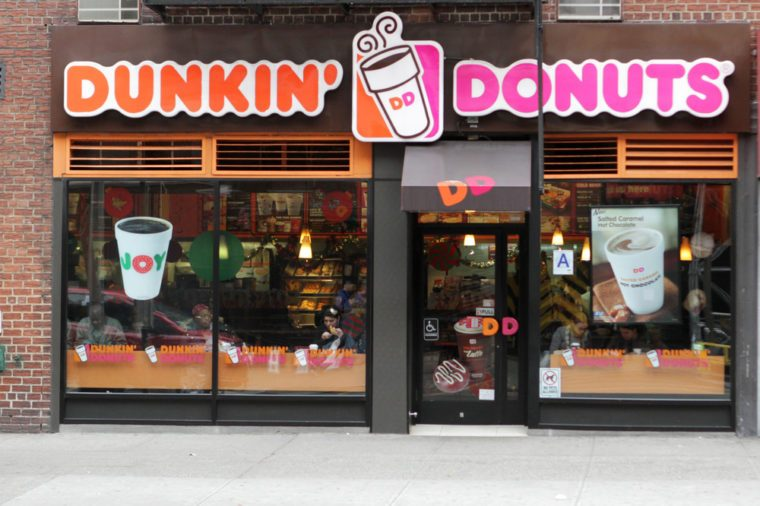 NEW YORK - NOV 27: An exterior view of a Dunkin Donuts coffee shop in New York City, on November 27, 2013. Dunkin Donuts has over 15,000 restaurants in more than 30 countries.