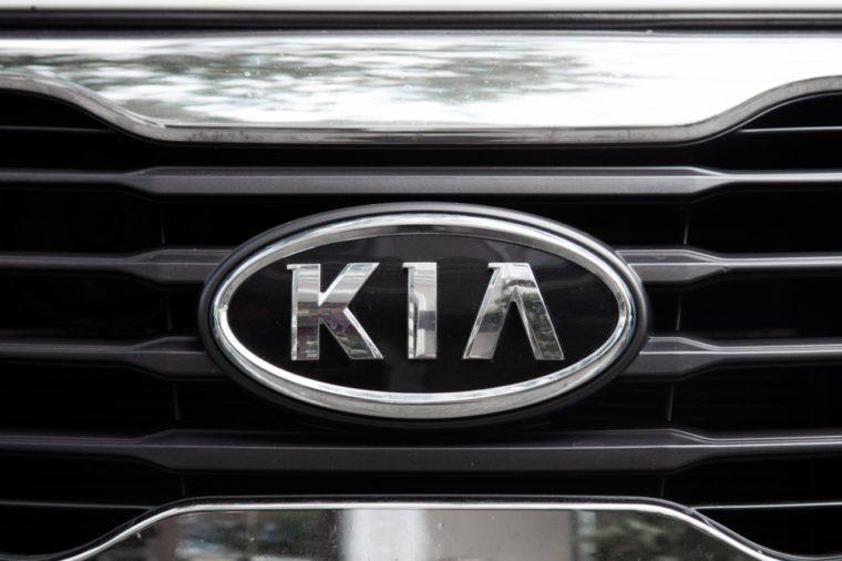 ODESSA, UKRAINE - AUGUST 13, 2017: Kia motors logo and badge on the car