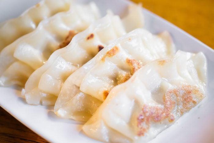 Fried Pot stickers.Traditional Asian Food.Gyoza Japanese food.Gyoza close up