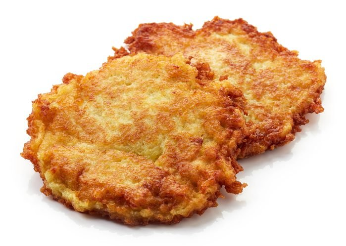 vegetable potato pancakes isolated on white background