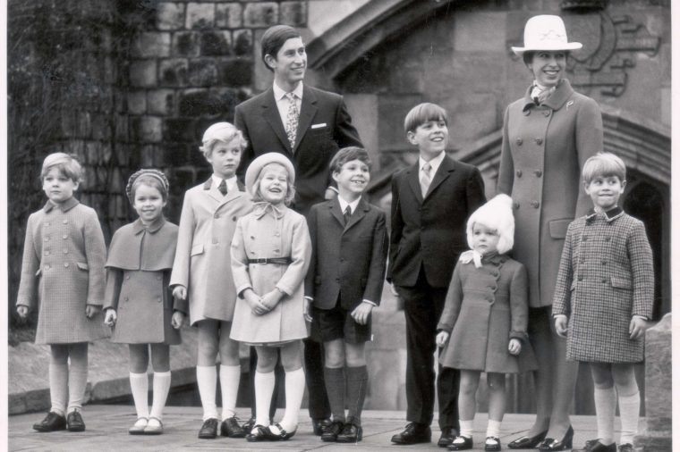 Prince Of Wales & Princess Royal With Younger Royals - December 1969 Christmas Day At Windsor Castle Photographed Together For The First Time Are The Ten Royal Children Pictured On The East Terrace At Windsor Castle O Christmas Day After The Morning
