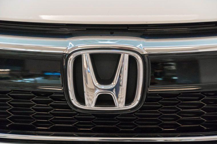 PUTRAJAYA, MALAYSIA - JULY 30, 2017: Emblem from Honda Jazz at the roadshow in Putrajaya, Malaysia