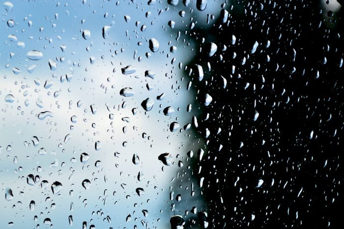 Fascinating raindrops on the glass
