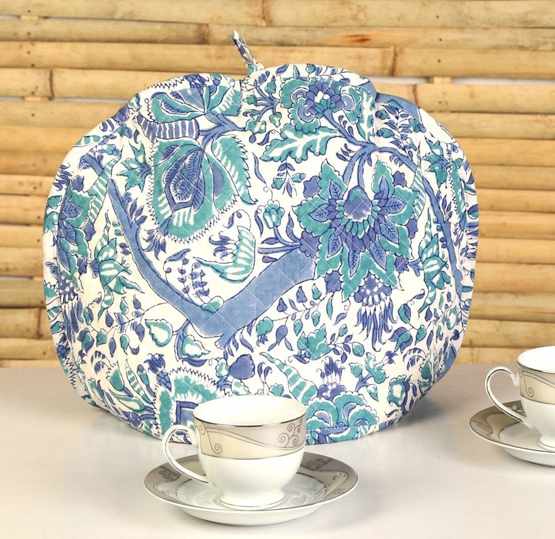 RAJRANG Prominent Blue Tea Cozy - Hand Block Printed Floral Teapot Cosy Decorative Indian Cotton Kettle Cover