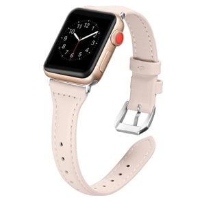 Secbolt Leather Bands Compatible Apple Watch Band 38mm 40mm Slim Replacement Wristband Sport Strap for Iwatch Nike+, Series 4 3 2 1, Edition Stainless Steel...