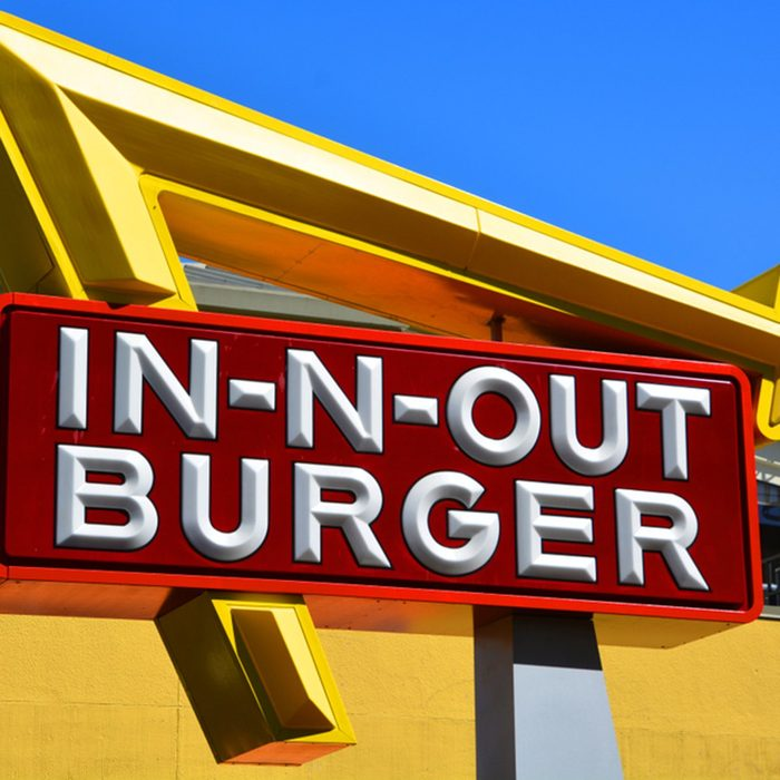 Sign of In-N-Out Burger is an American regional chain of fast food restaurants