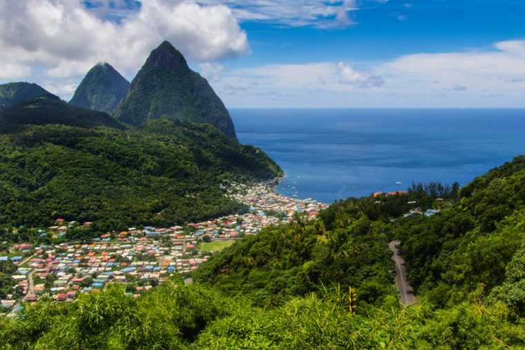 St Lucia in the caribbean, is Helen of the west. Pitons,