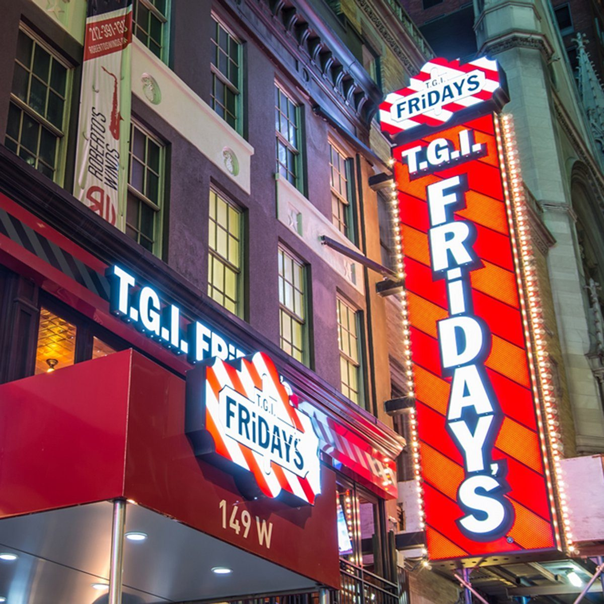 T.G.I's Friday neon sign in Manhattan.