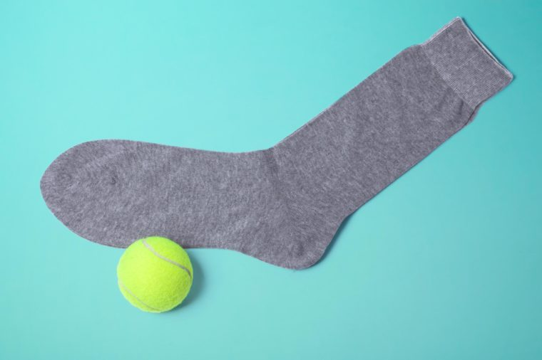 sock tennis ball