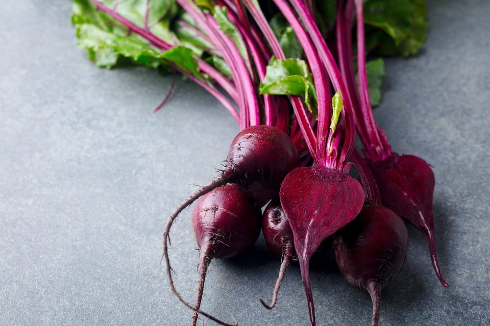 Fresh organic beet, beetroot. Grey background. Copy space. Top view.