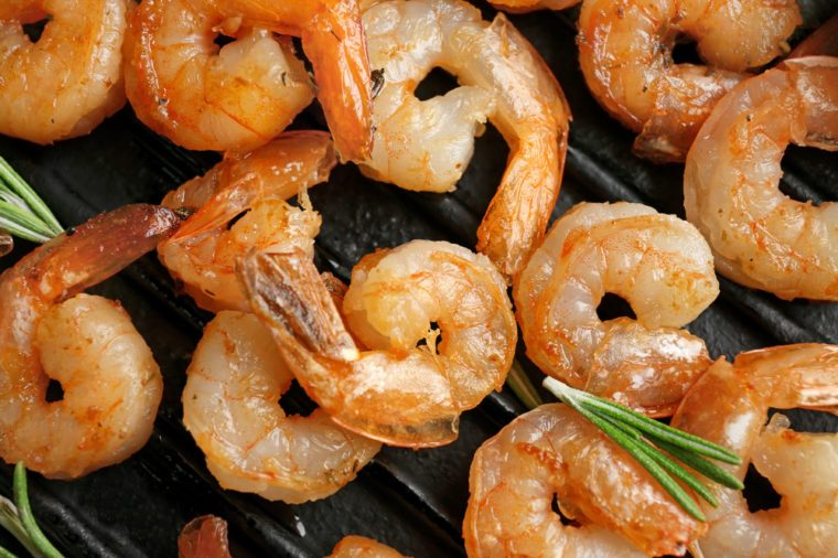 Delicious grilled shrimps, closeup