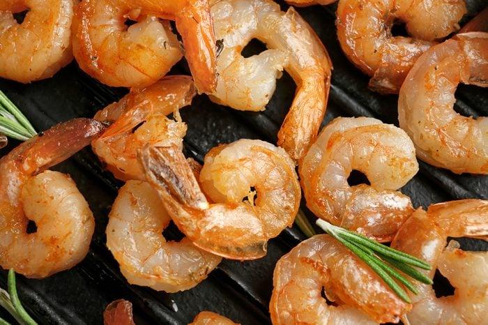 Delicious grilled shrimps, closeup