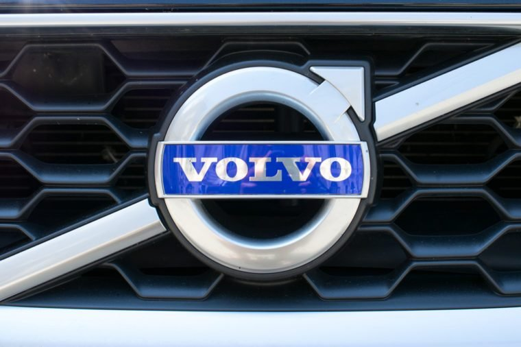 TURIN, ITALY - JUNE 10, 2017: Volvo logo on a car grill