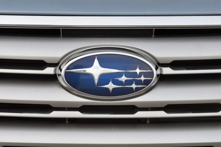 Vilnius, Lithuania - May 18: Subaru logotype on a car on May 18, 2018 in Vilnius Lithuania. Subaru is the automobile manufacturing division of Japanese conglomerate Fuji Heavy Industries