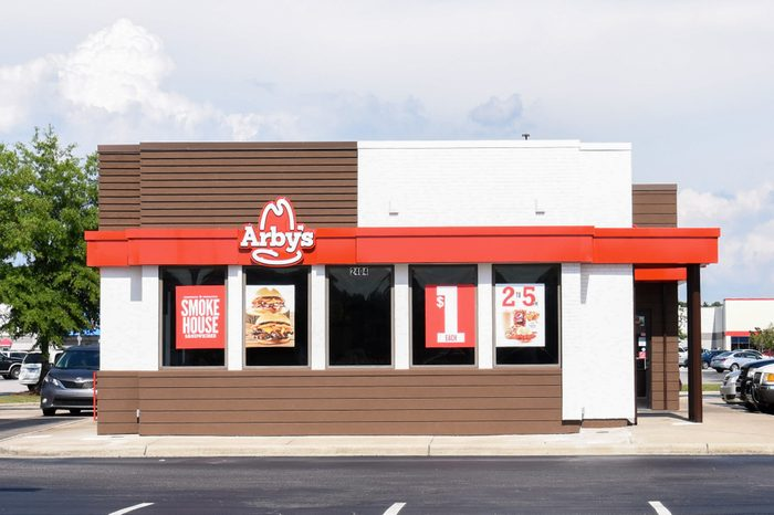 WILSON, NC - MAY 20, 2017: An Arby's restaurant in Wilson, NC. Arby's is the second-largest quick-service fast-food sandwich restaurant chain in America with more than 3,300 restaurant locations.