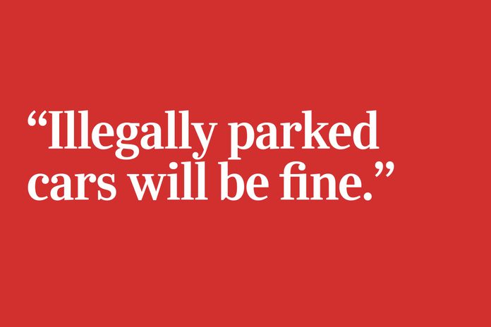 illegally parked cars