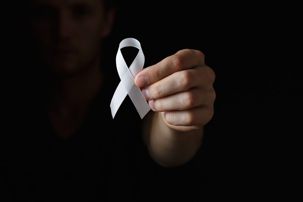 lung cancer ribbon, white ribbon, a symbol of the fight against lung cancer