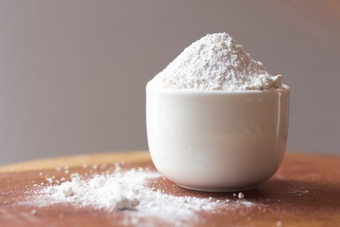 Calcium sulfate on bowl