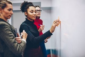 African american female student using stickers on flip chart for explaining ideas during lesson with business coach, multiracial crew of women employees having brainstorming session near board