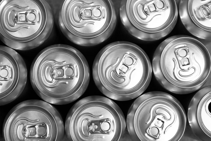 Much of drinking cans close up