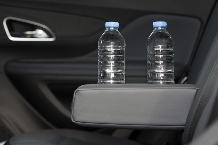 cup holder for water bottle, Modern Car Interior Top View. Black Leather Brand New Car Interior