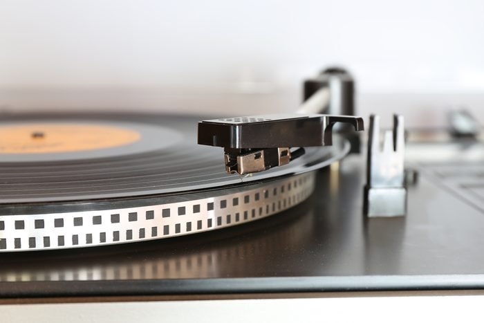 Old gramophone turntable with disc