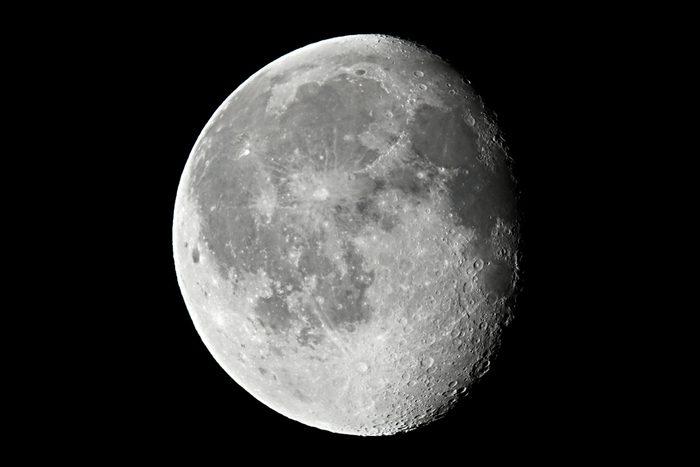 the Moon detailed shot taken at 1600mm focal length. Wanin gibbous phase