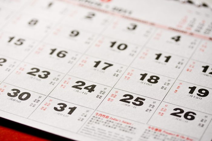 Close up of Chinese calendar. Concept of time,planner and deadline.