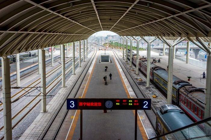 Train platform in Xining, China