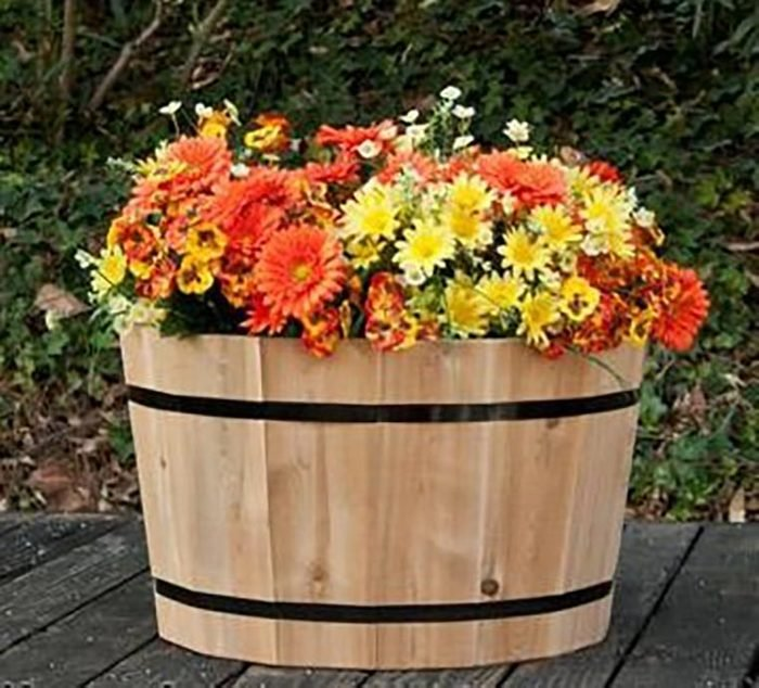 Unfinished, Paintable Decorative Basic Half Whiskey Barrel Tub Planter 24 Inch Round | Cedar Wood Planter
