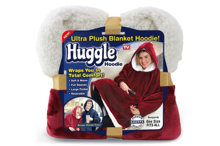 Ontel Huggle Hoodie | Hooded Robe, Spa, Bathrobe, Sweatshirt, Fleece, Pullover, Blanket, Mens, Womens | As Seen on TV (Burgundy)
