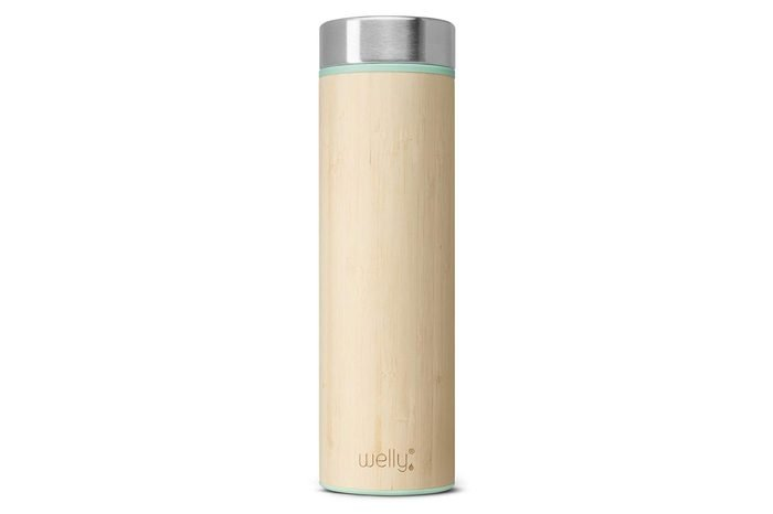 Welly Vacuum Insulated Stainless Steel Bamboo Water Bottle, Double Wall, Wide Mouth, BPA Free