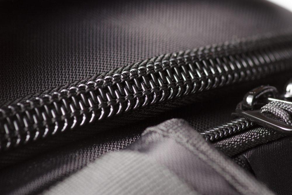 Zipper black bag backpack textile accessories macro