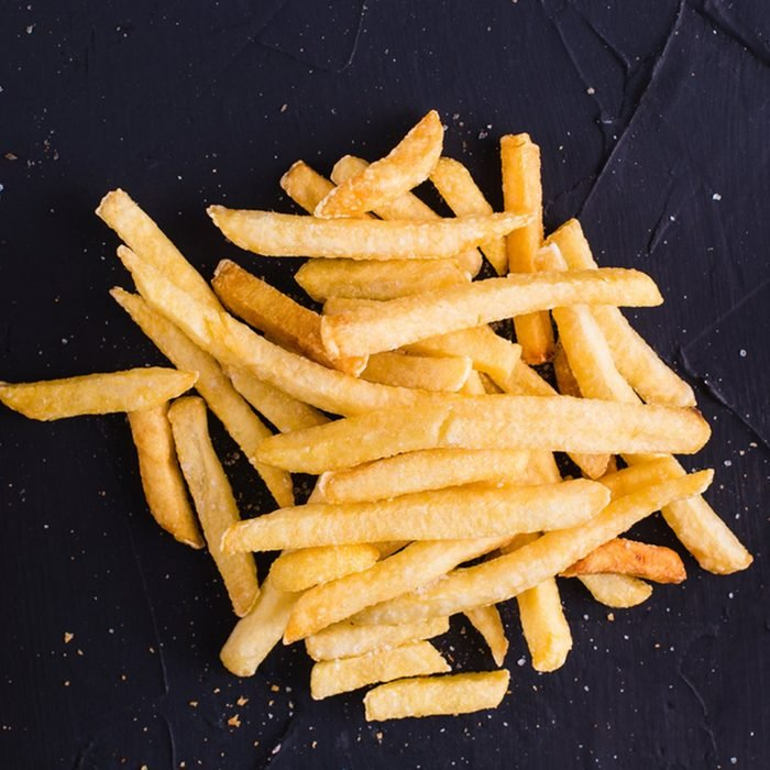 French fries on a dark background