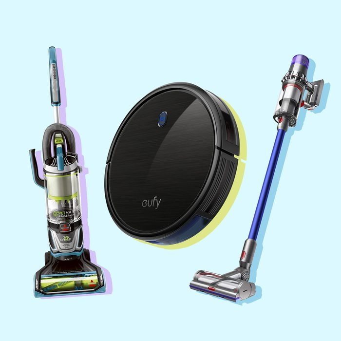 Three popular vacuums on color underlays