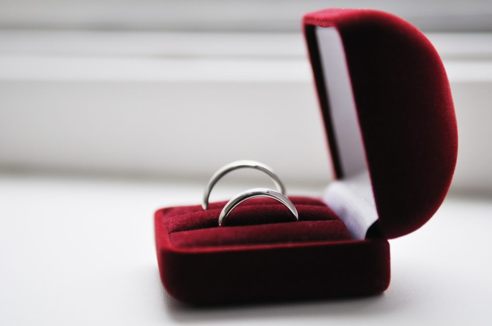 Two wedding rings in nice red box