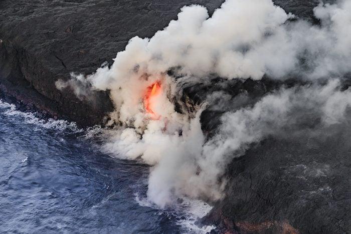 Aerial shot of Pu u O O vent Kilauea Volcano Hawaii Volcanoes National Park Island of Hawaii Hawaii USA